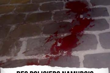 Les pavés ensanglantés après une agression par des policiers namurois